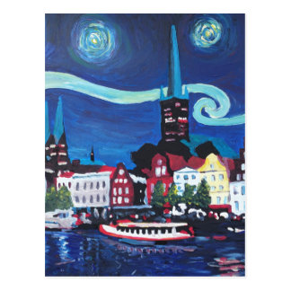Starry Night in Luebeck Germany Postcard