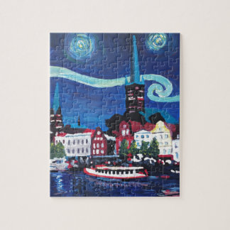 Starry Night in Luebeck Germany Puzzle