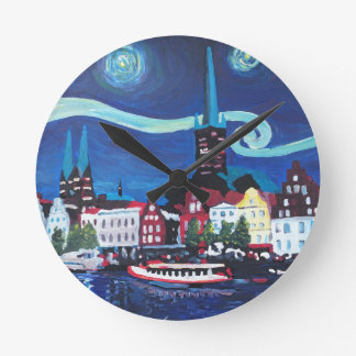 Starry Night in Luebeck Germany Round Clock