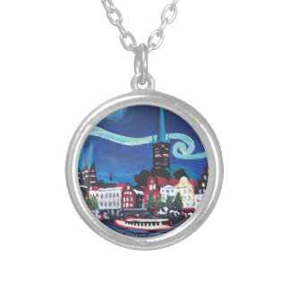 Starry Night in Luebeck Germany Silver Plated Necklace