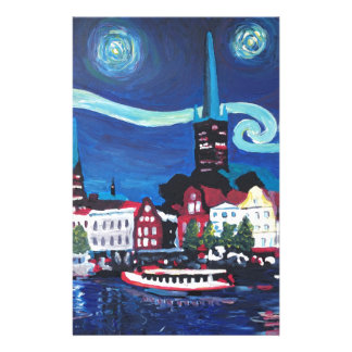 Starry Night in Luebeck Germany Stationery