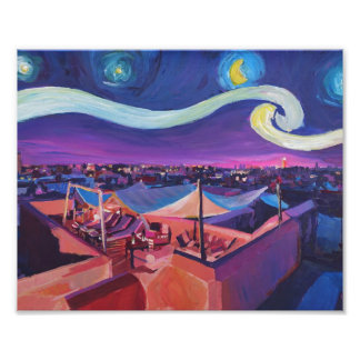 Starry Night in Marrakech on Fna Market Place Photograph