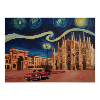 Starry Night in Milan - Cathedral with Oldtimer Poster