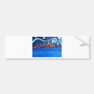 Starry Night in New York City - Freedom Tower Bumper Sticker