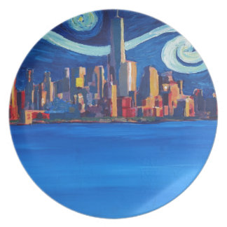 Starry Night in New York City - Freedom Tower Plate