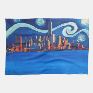 Starry Night in New York City - Freedom Tower Tea Towel