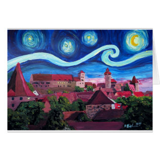 Starry Night in Nuremberg Germany with Castle Card