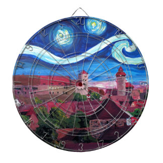 Starry Night in Nuremberg Germany with Castle Dartboard