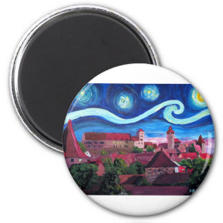 Starry Night in Nuremberg Germany with Castle Magnet