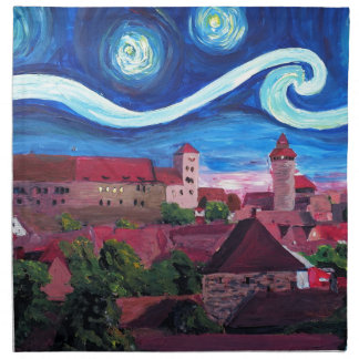 Starry Night in Nuremberg Germany with Castle Napkin