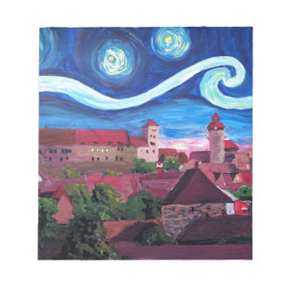 Starry Night in Nuremberg Germany with Castle Notepad