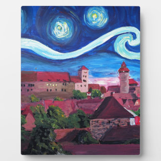 Starry Night in Nuremberg Germany with Castle Plaque