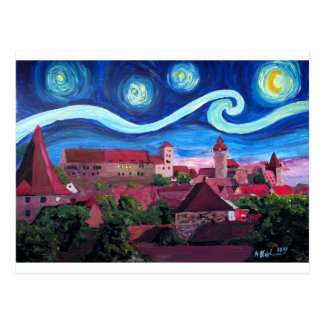 Starry Night in Nuremberg Germany with Castle Postcard