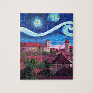 Starry Night in Nuremberg Germany with Castle Puzzle