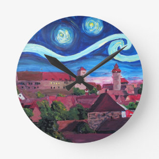 Starry Night in Nuremberg Germany with Castle Round Clock