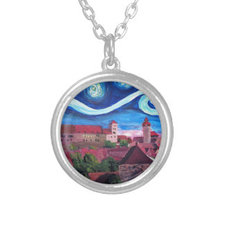 Starry Night in Nuremberg Germany with Castle Silver Plated Necklace