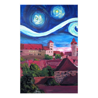 Starry Night in Nuremberg Germany with Castle Stationery