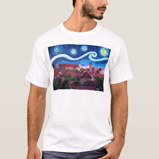 Starry Night in Nuremberg Germany with Castle T-Shirt