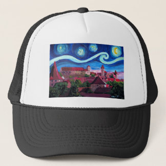 Starry Night in Nuremberg Germany with Castle Trucker Hat