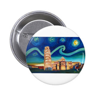 Starry Night in Pisa with Leaning Tower 6 Cm Round Badge