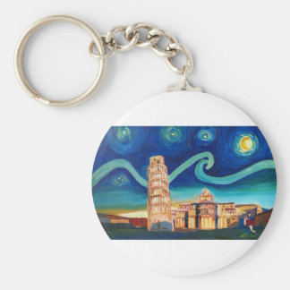 Starry Night in Pisa with Leaning Tower Basic Round Button Key Ring