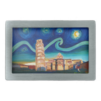 Starry Night in Pisa with Leaning Tower Belt Buckles