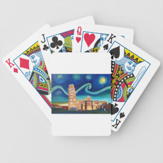 Starry Night in Pisa with Leaning Tower Bicycle Playing Cards