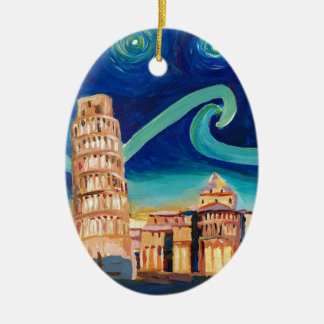 Starry Night in Pisa with Leaning Tower Ceramic Ornament