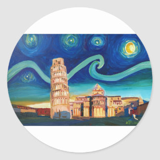 Starry Night in Pisa with Leaning Tower Classic Round Sticker