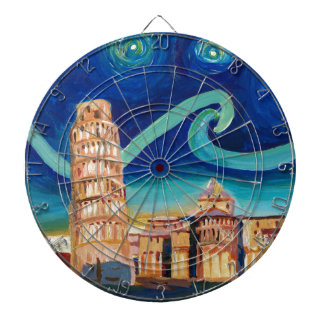 Starry Night in Pisa with Leaning Tower Dartboard