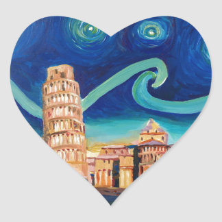 Starry Night in Pisa with Leaning Tower Heart Sticker