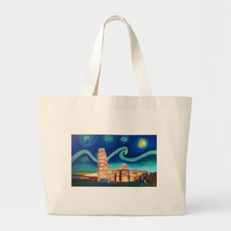 Starry Night in Pisa with Leaning Tower Large Tote Bag