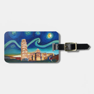 Starry Night in Pisa with Leaning Tower Luggage Tag