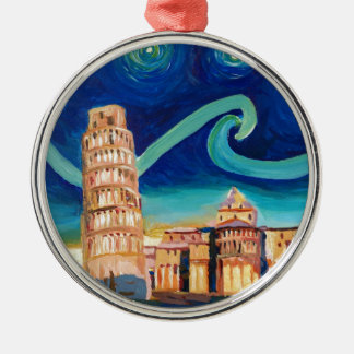 Starry Night in Pisa with Leaning Tower Metal Ornament