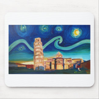 Starry Night in Pisa with Leaning Tower Mouse Pad