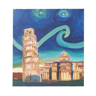 Starry Night in Pisa with Leaning Tower Notepad