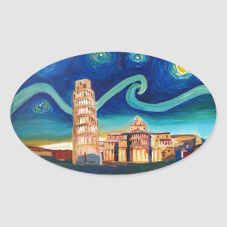 Starry Night in Pisa with Leaning Tower Oval Sticker