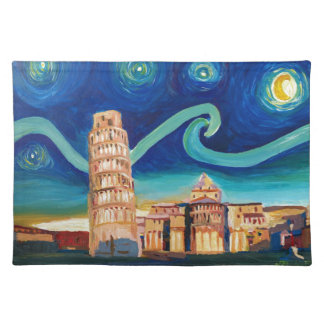 Starry Night in Pisa with Leaning Tower Placemat