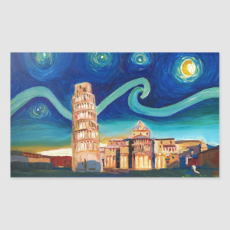 Starry Night in Pisa with Leaning Tower Rectangular Sticker