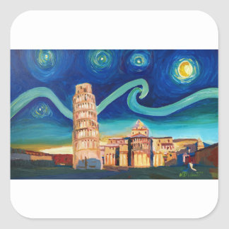 Starry Night in Pisa with Leaning Tower Square Sticker