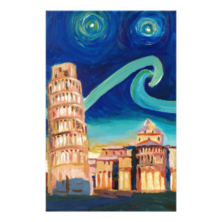 Starry Night in Pisa with Leaning Tower Stationery