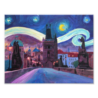 Starry Night in Prague on Charles Bridge Photograph