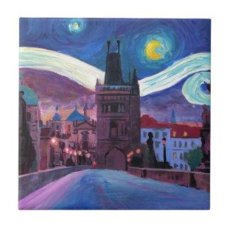Starry Night in Prague  with Carlsbridge Ceramic Tile