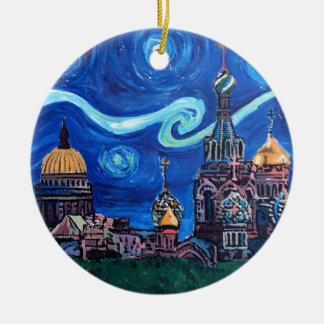 Starry Night in St Petersburg Russia Ceramic Ornament
