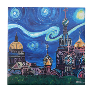 Starry Night in St Petersburg Russia Ceramic Tile
