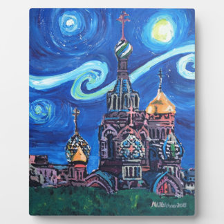 Starry Night in St Petersburg Russia Plaque
