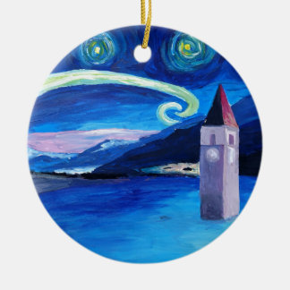 Starry Night in Switzerland - Vierwaldstätter See Ceramic Ornament