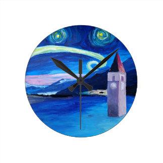 Starry Night in Switzerland - Vierwaldstätter See Round Clock