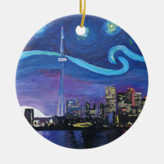 Starry Night in Toronto with Van Gogh Inspirations Ceramic Ornament