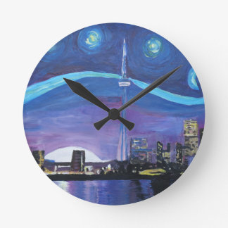 Starry Night in Toronto with Van Gogh Inspirations Round Clock